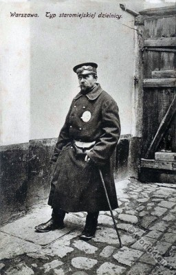 Jewish character. Jewish security guard. Jew Warsaw, Poland. Jewish traditional clothing and costumes.