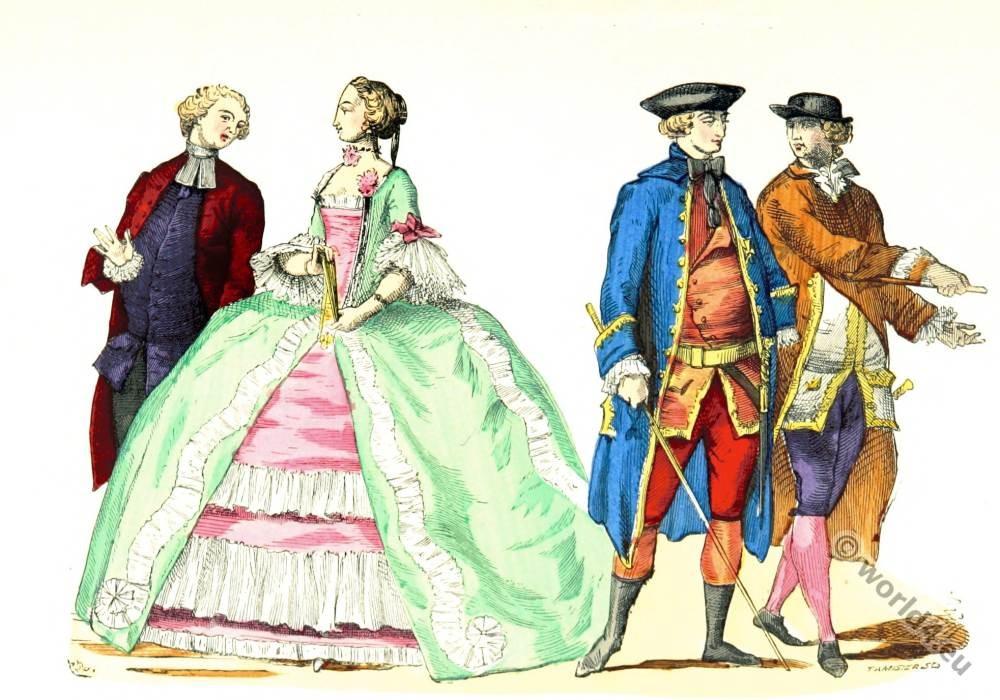 Rococo fashion. Stroll costumes. 18th century rococo fashion. Worldly priest costume.