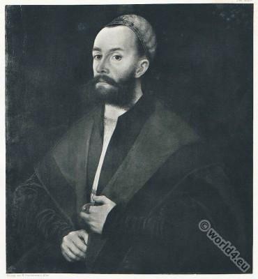 Anton Fugger. German merchant. 16th century costume. Renaissance fashion.