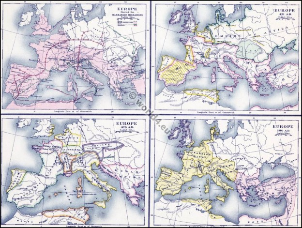 Barbarian Migrations history. The Migration Period. Historical map.