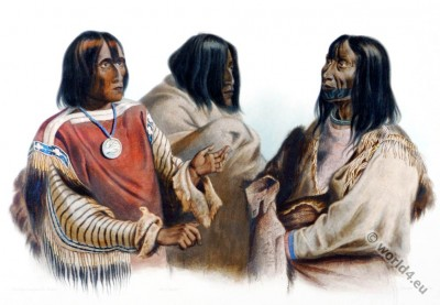 American First nation. Blackfeet Blood Indian. Piekann Indian. Koutani Indian. Costumes. Karl Bodmer