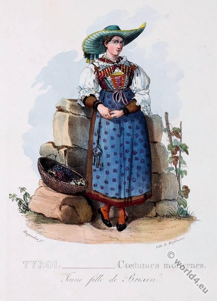 Tyrolean national costumes. Brixen folk dress. Austrian traditional fashion.
