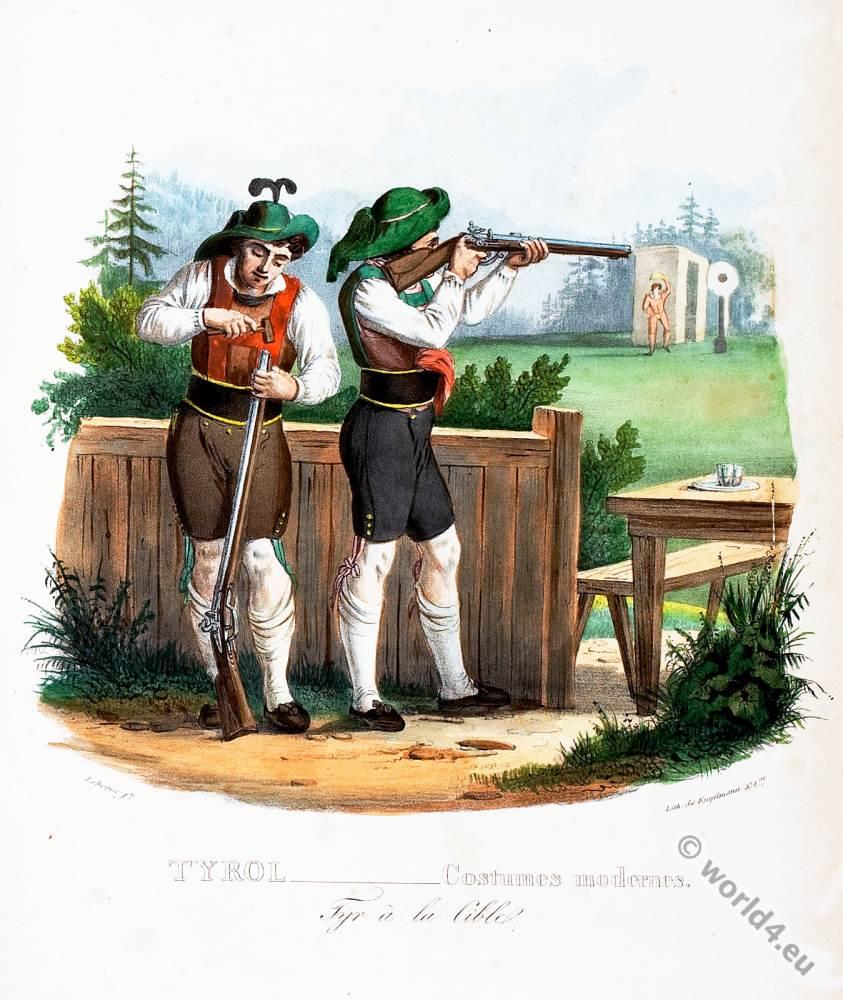 Tyrolean national costumes. Austrian traditional fashion. hunter folk dress. Target shooting.