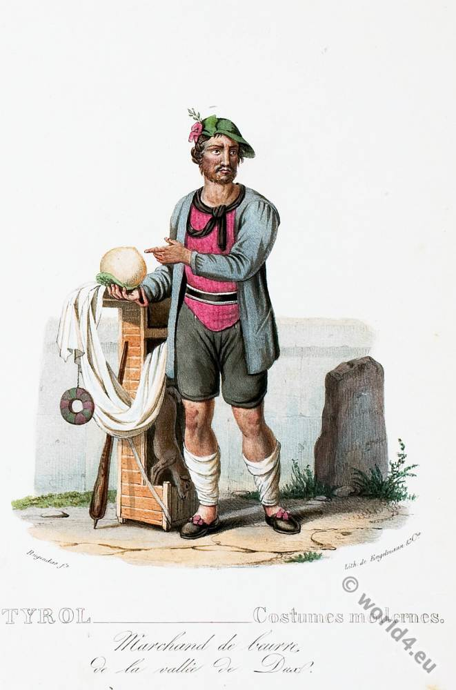 Tyrolean national costumes. Austrian traditional fashion. Joux Valley folk dress.