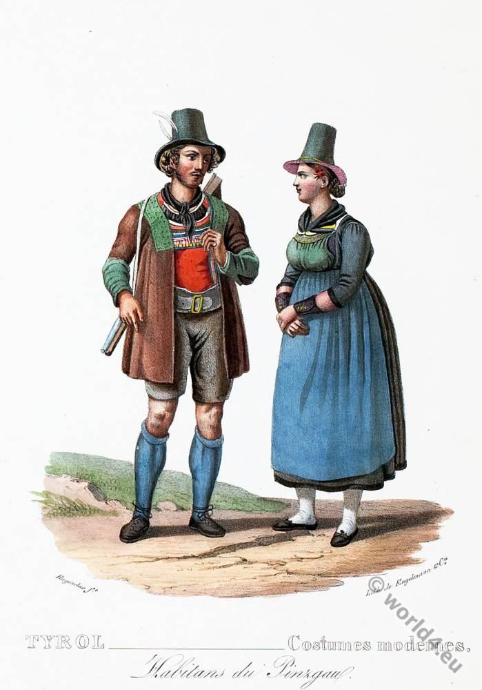 Tyrolean national costumes. Austrian traditional fashion. Pinzgau folk dress.