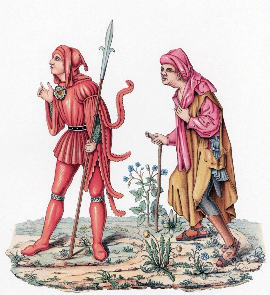 Court messenger, peasant costumes. 15th century fashion. Medieval gothic, burgundy fashion history.