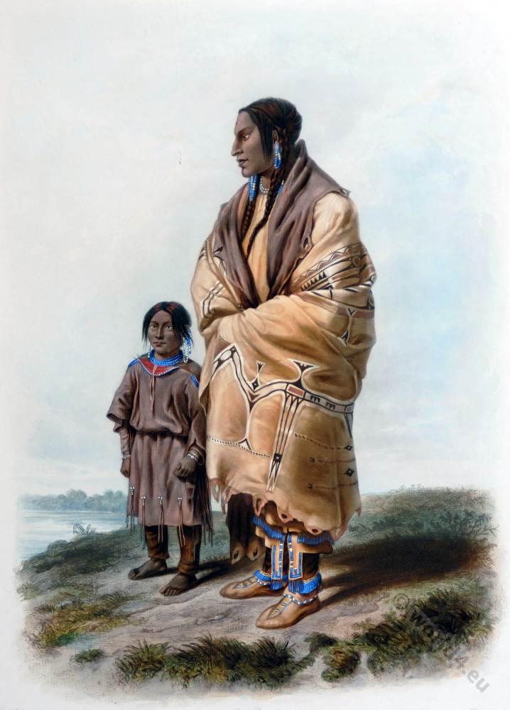 Native, Americans, Assiniboin, Dakota, costume, Karl Bodmer,