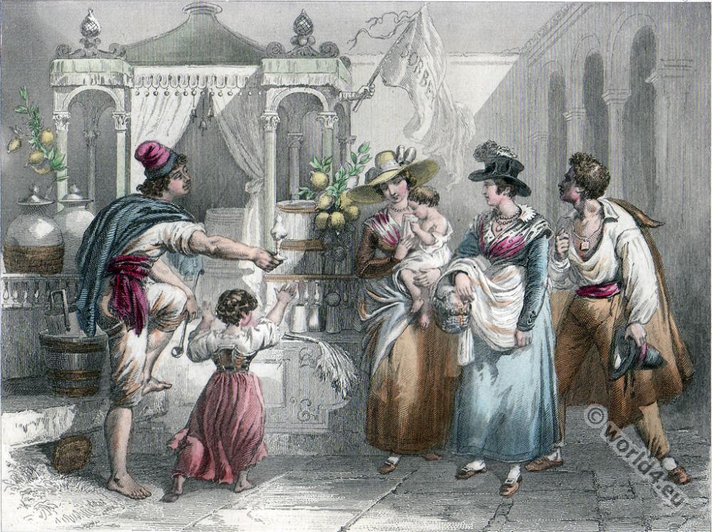 Florence costumes. Ice Salesman. Italy folk dresses.19th century fashion.