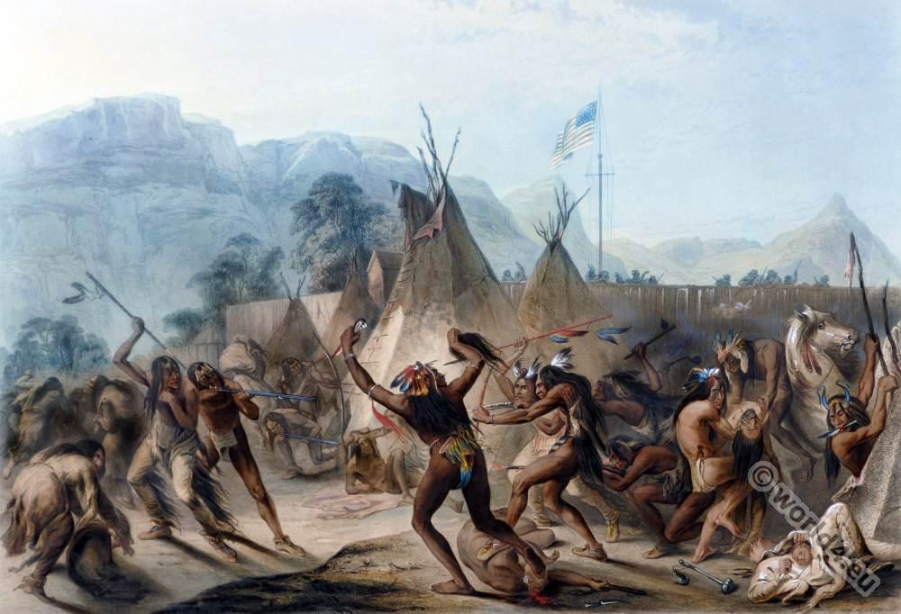 Battle, Missouri, Fort, McKenzie, Assiniboine, warriors, Blackfeet, Battle, Maximilian, Prince