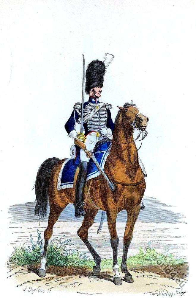Garde royal, Grenadier, Cheval, 2e Régiment, France, Military, Uniform,