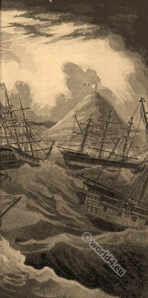 Sailing ships in storm. South Africa, Cape of Good Hope