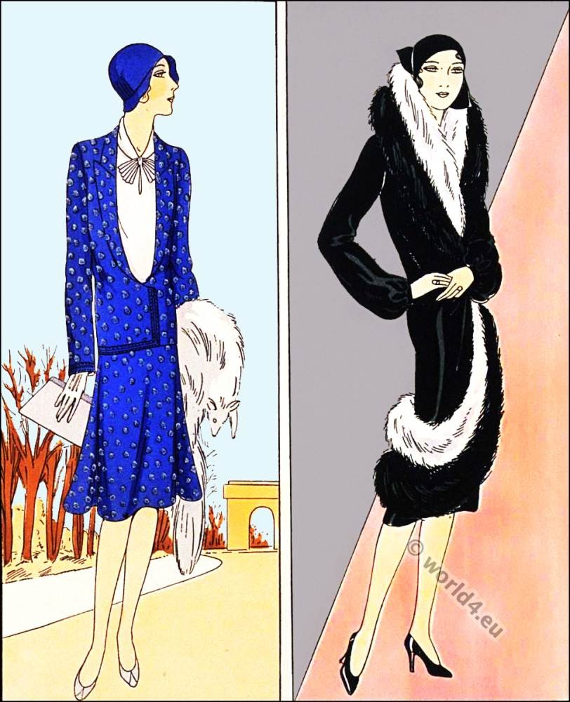 Chic manteau. Germaine Lecomte. Flapper fashion. Art deco costumes.