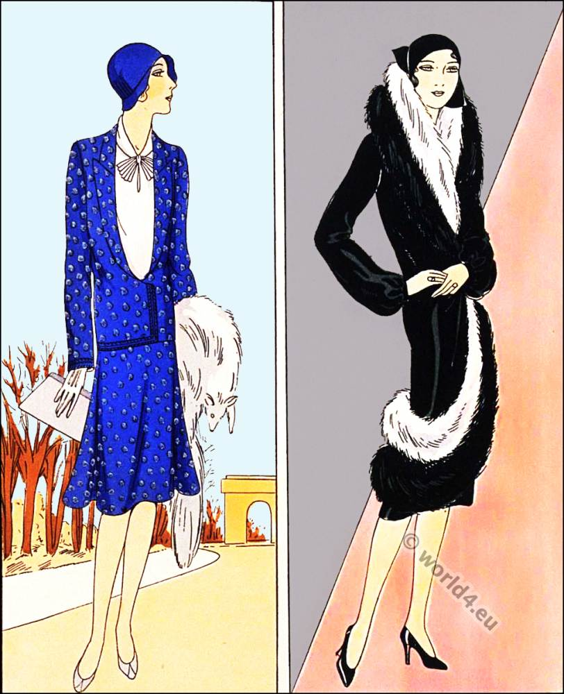 Chic manteau. Germaine Lecomte. Flapper fashion. Art deco costumes.