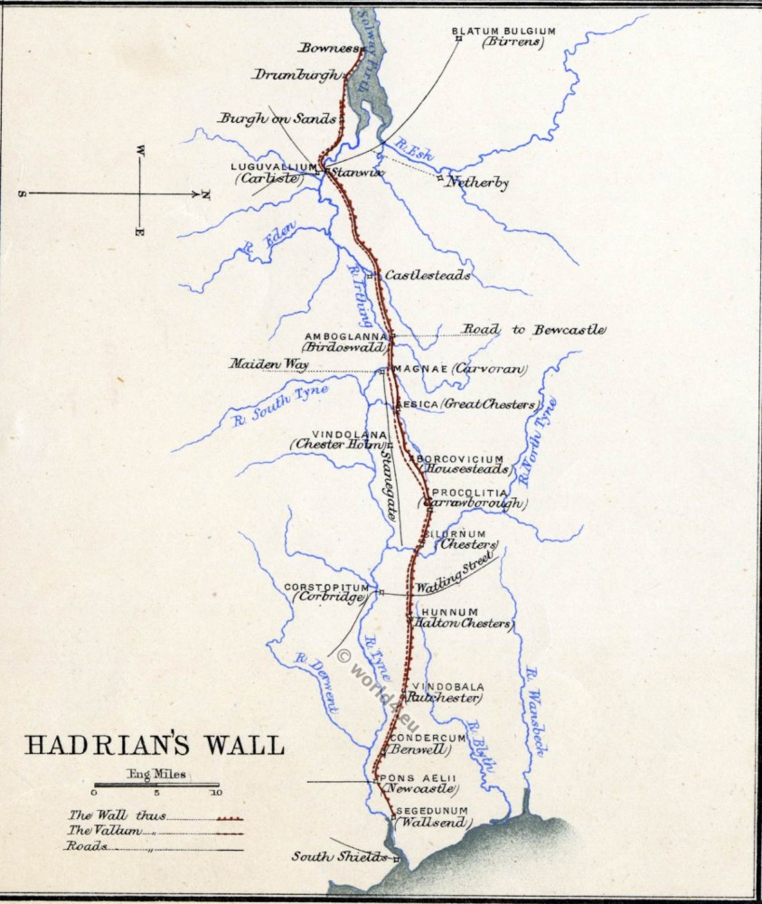 Map Hadrians Wall. Roman empire. Roman Britain. Historical atlas