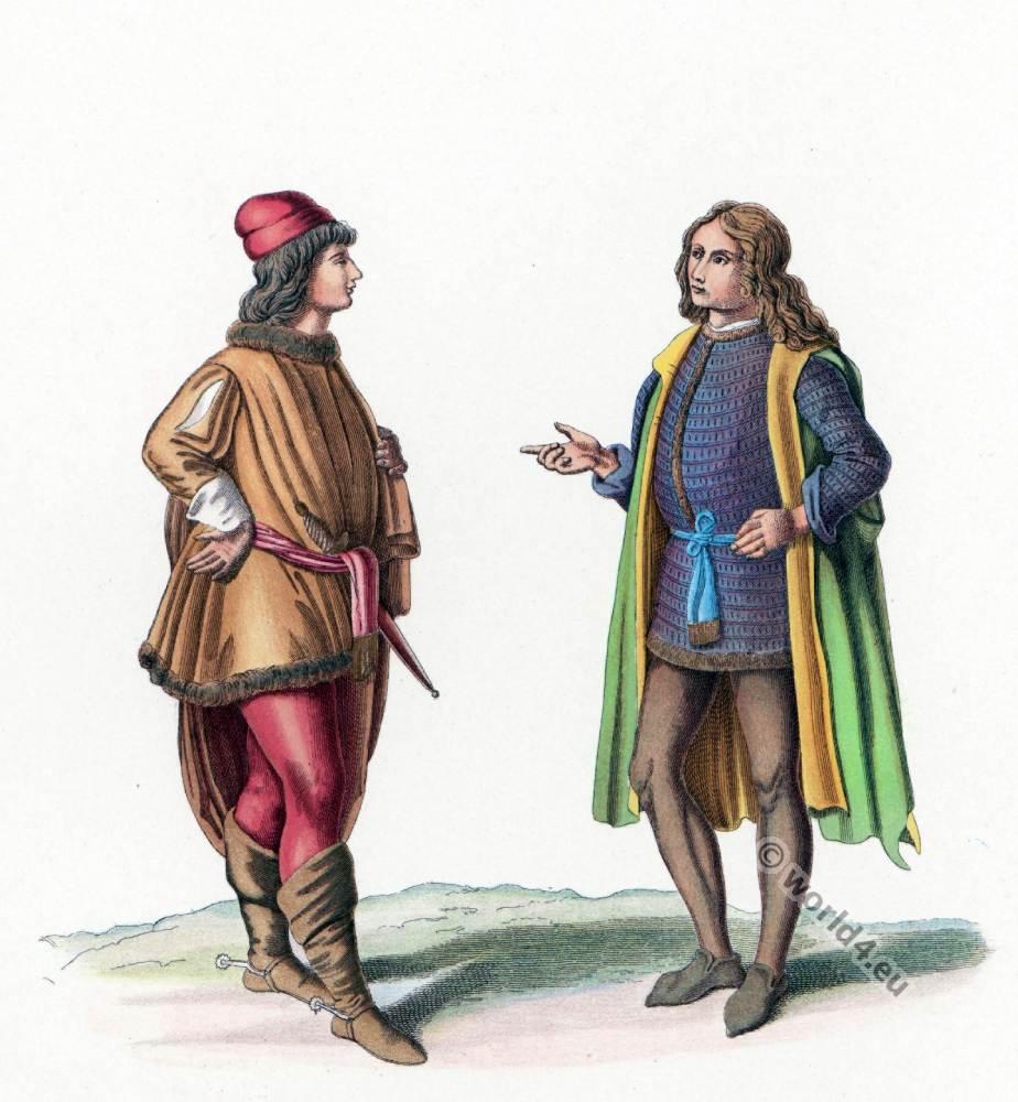Italian Gothic costumes. Medieval fashion 15th century. Burgundy fashion era.