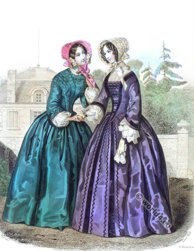 La Mode. Paul Gavarni. Crinoline fashion. Romantic costumes