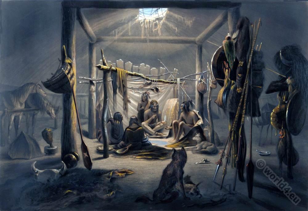 Mandan, Numahkahke, Sioux, American, natives, Chief, Hut, Interior, Karl Bodmer,