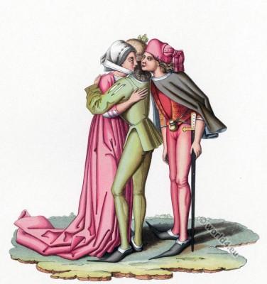 German gothic fashion. 15th century. Burgundy costumes