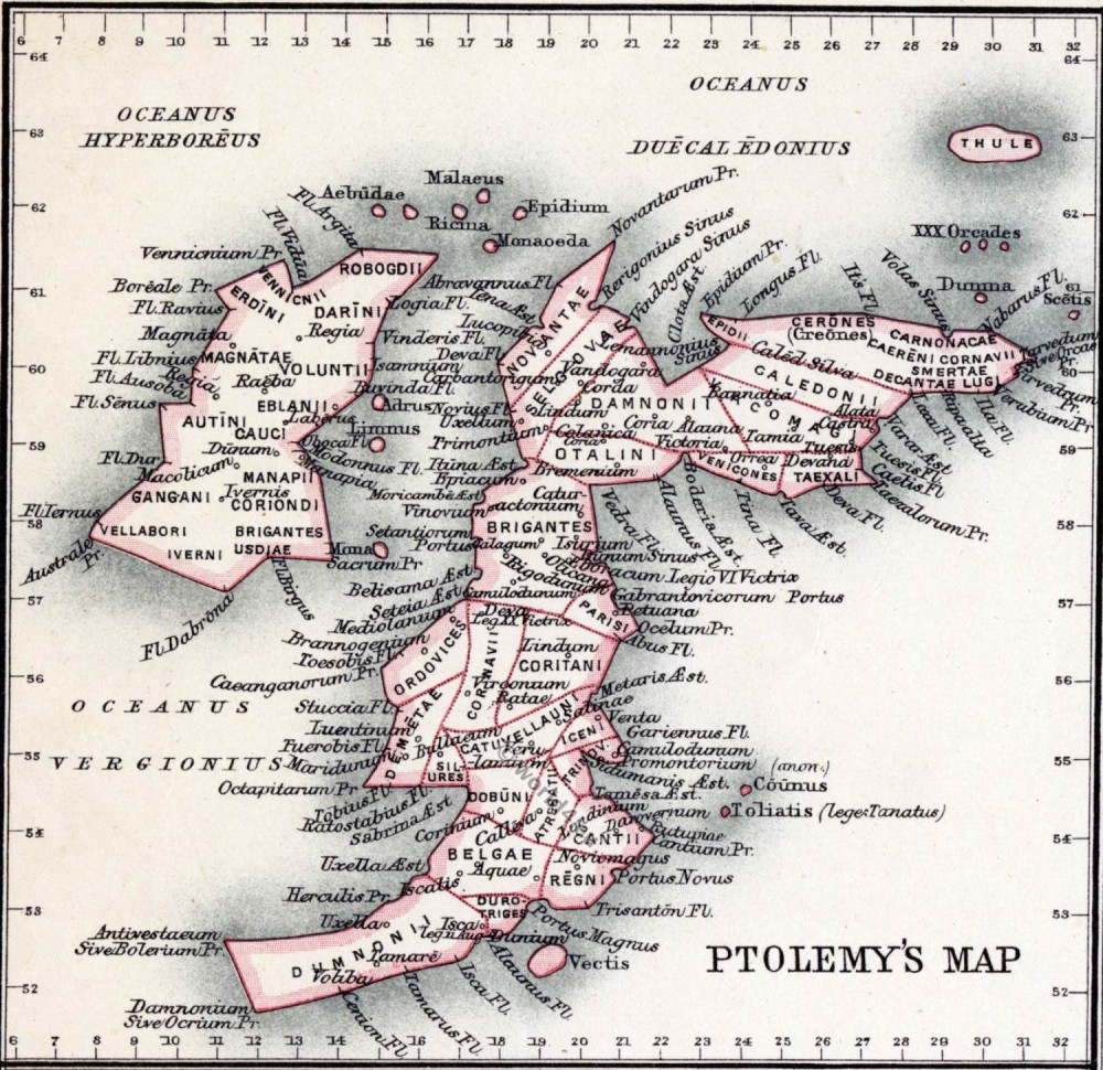 Ptolomey, map, Roman, Britain,