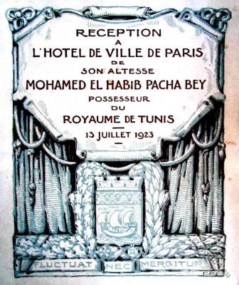Hôtel de Ville de Paris. Mohamed El Habib Pasha Bey. Tunis.