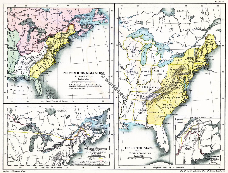 American, Revolutionary, War, USA,  Paris, Treaty, map, United States,