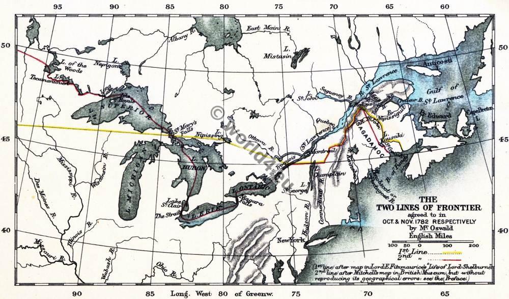 Map, Lines, Frontier, American, Revolutionary, War, USA