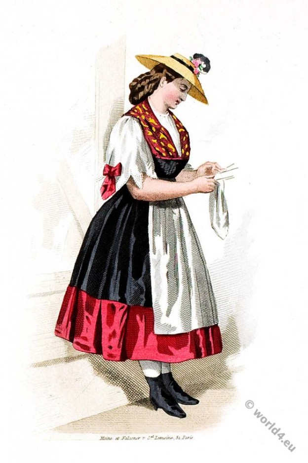 Traditional Swiss Costume Creamery. Switzerland, 19th century fashion.
