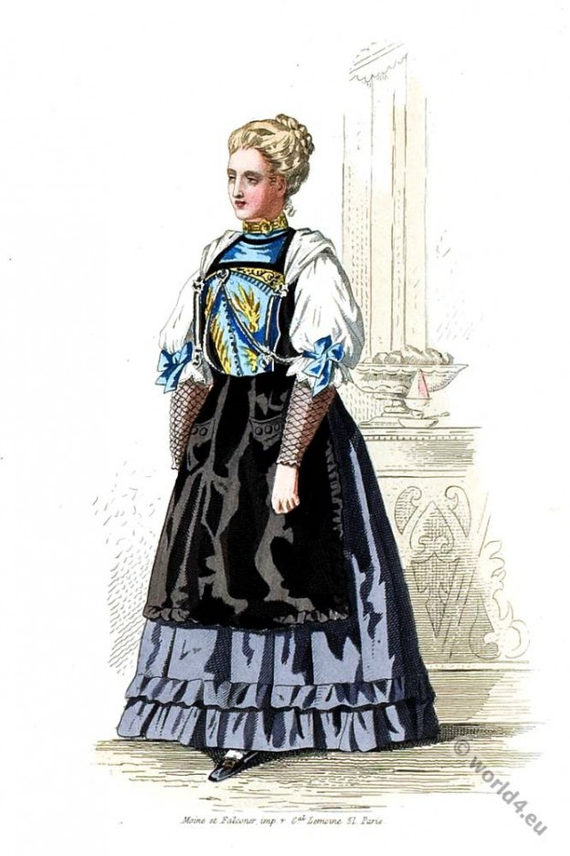 Swiss pastry shop costume. 19th century fashion
