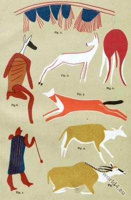 San Bushman paintings. South Africa. Schooma, Xalanga, Ettrik, Kala