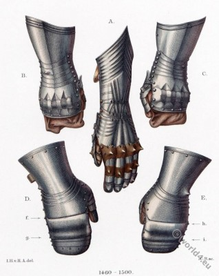 Iron Gloves, gauntlets. 15th century. Middle ages armor