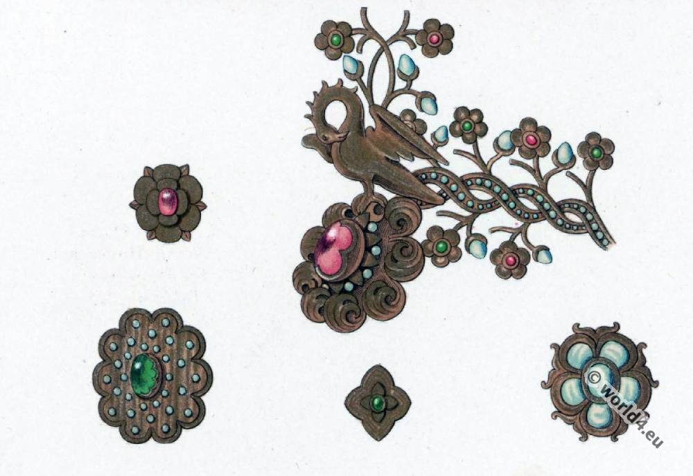 Gothic jewelry. 15th century jewelry design. Middle ages Jewellery fashion