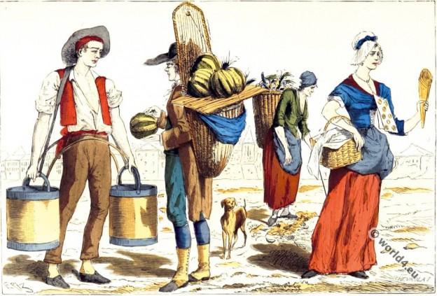 Parisian costumes. 18th century fashion.