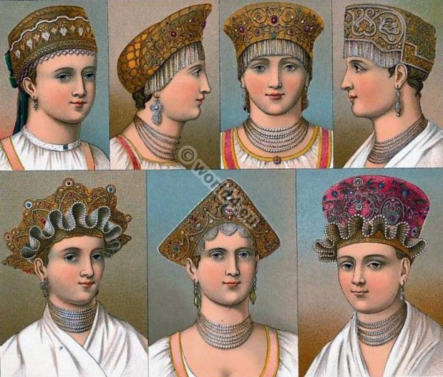 Traditional Russian headwear. Auguste Racinet. Russia headdresses