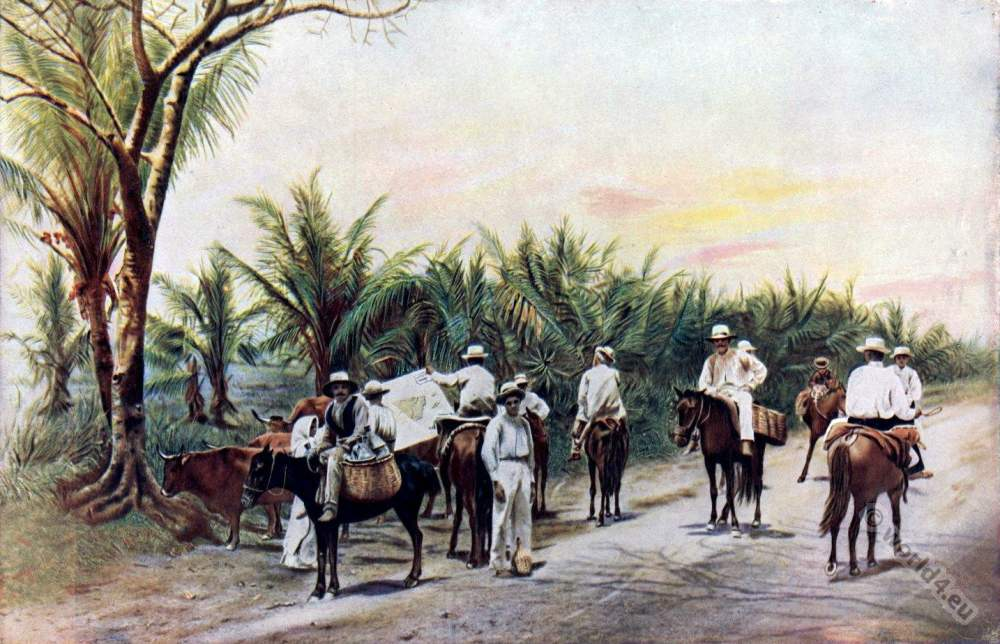 Puerto Rico Farmer costumes. Puerto Rico national costumes. Creoles at Caribic islands. American colonialism. Spanish–American War