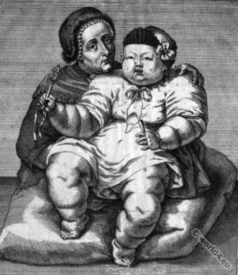 German mother. Monstrous child. 18th century child dress. peasant costume. Bavarian baroque era.