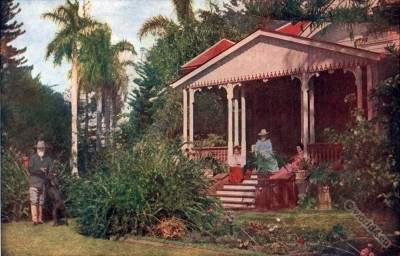 Colonial House. Hawaii Farmer costumes. American colonialism.
