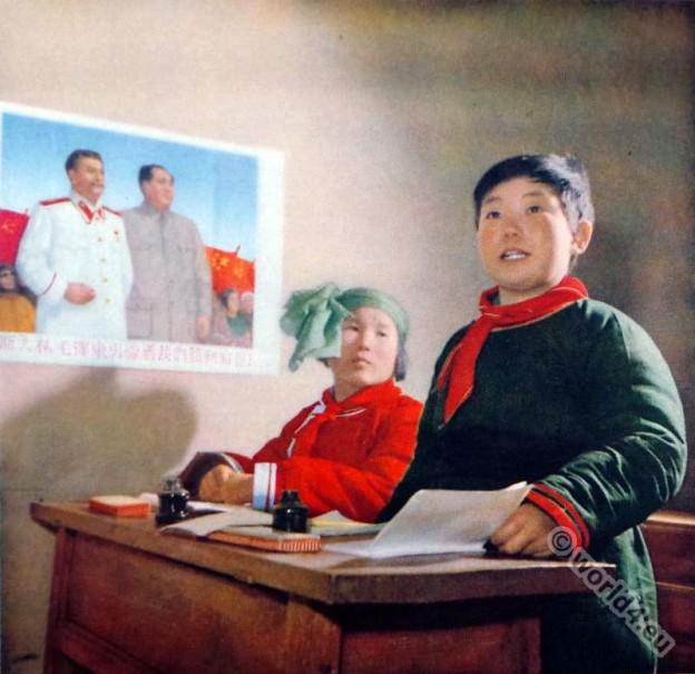 Olunchun ethnic group. School boy costume. China Communism. Chinese propaganda picture.