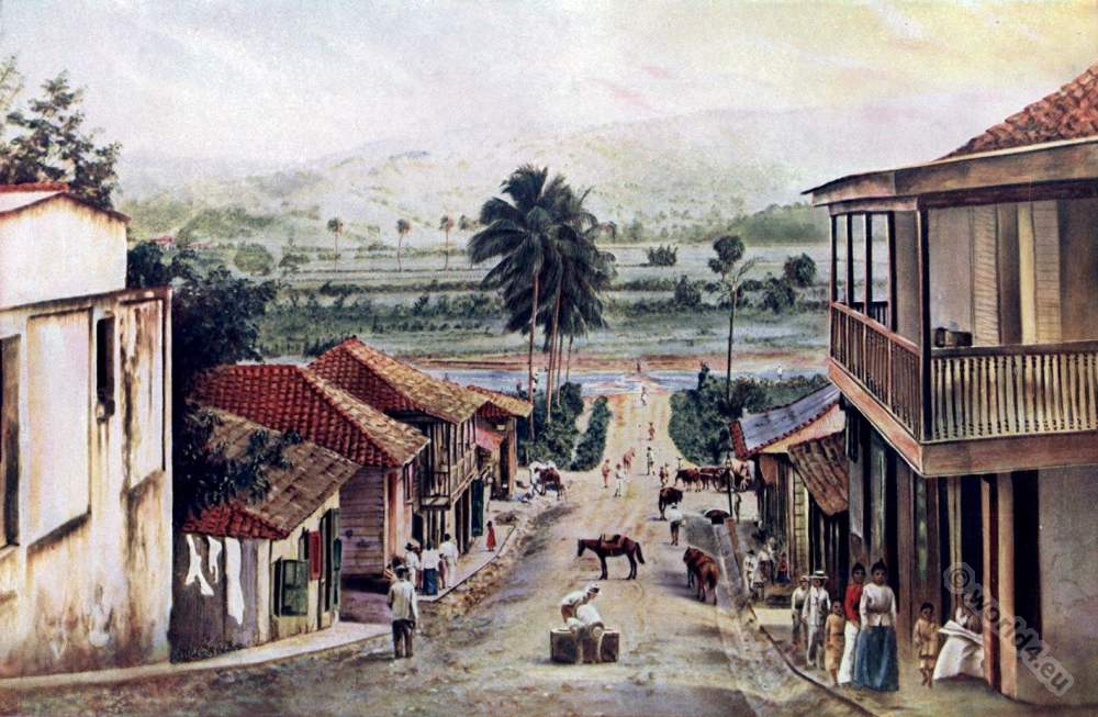 San German. Puerto rico. Caribic islands. American colonialism. Creole costumes.