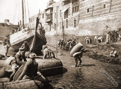 Guffa, round basket boat. Baghdad Arab porters costumes, Tigris, Euphrates. Photogravure.