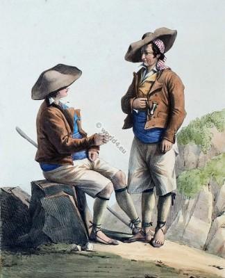 france,Traditional,costume,Pyrenees,Costumes des Pyrénnées,folk,dresses,Aragonese,Aragonais,Édouard Pingret