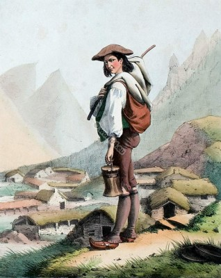 Goatherd. Costumes Pyrenees. Traditional French national costume.