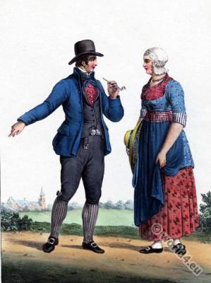 Farmer costumes. Leiden. Traditional Dutch costumes, Hendrik Greeven, Théodore Ferdinand Vallon de Villeneuve,