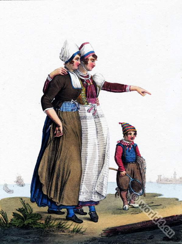 Traditional Dutch costumes, Hendrik Greeven, Théodore Ferdinand Vallon de Villeneuve, Marken, Zuiderze,