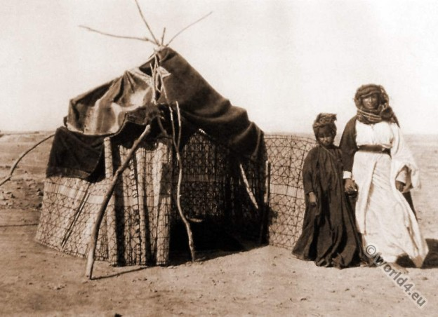 Arab Fellahin costumes. Marriage Hut. Photogravure.