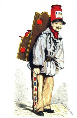 Merchand, paris. 19th century costume, street vendor,