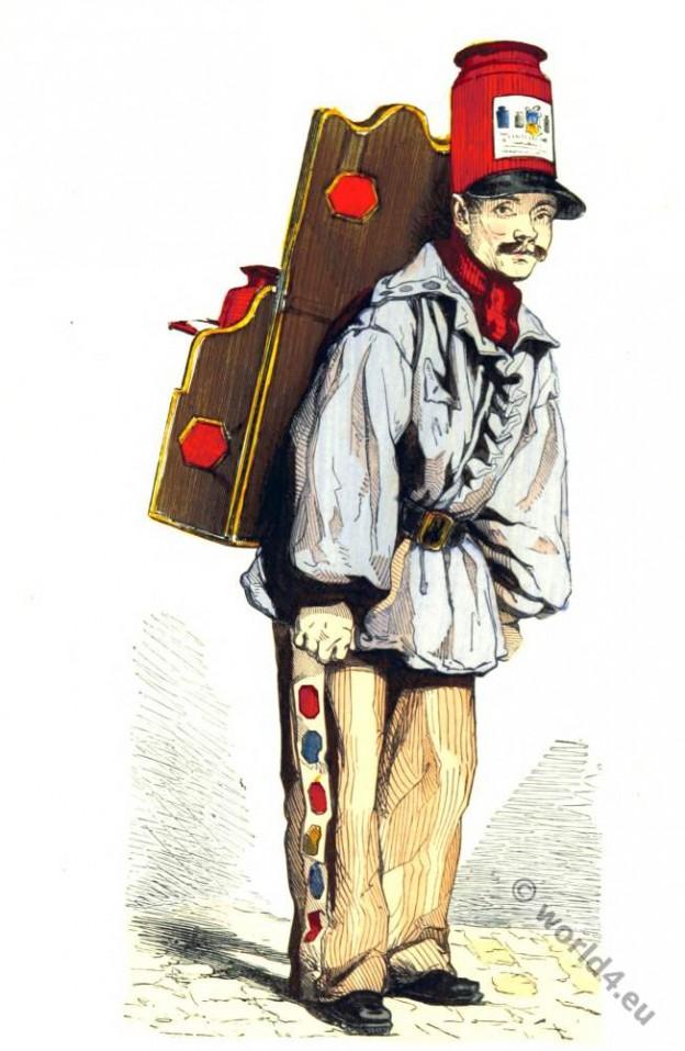 Merchand, paris. 19th century costume, street vendor,