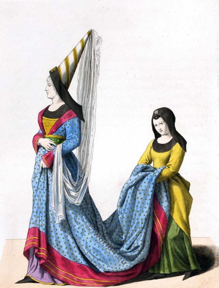 Costumes, Noblesse, Gothique, mode, médiévale, 14ème siècle.