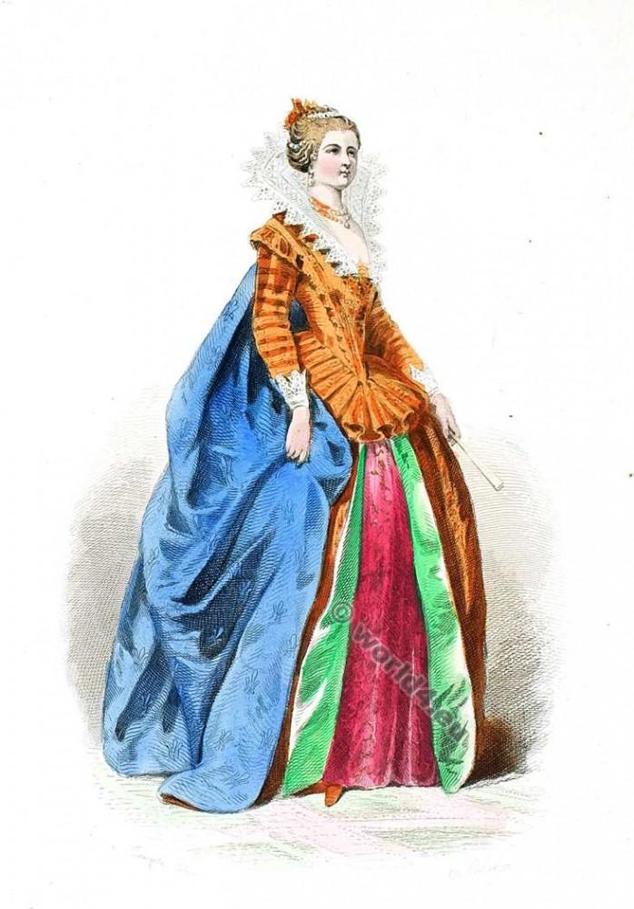 Cour de Henri IV., 1600. Cour robe du 16ème siècle. la mode baroque.