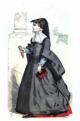 French Bourgeois costume. Renaissance mode. 16th century fashion.
