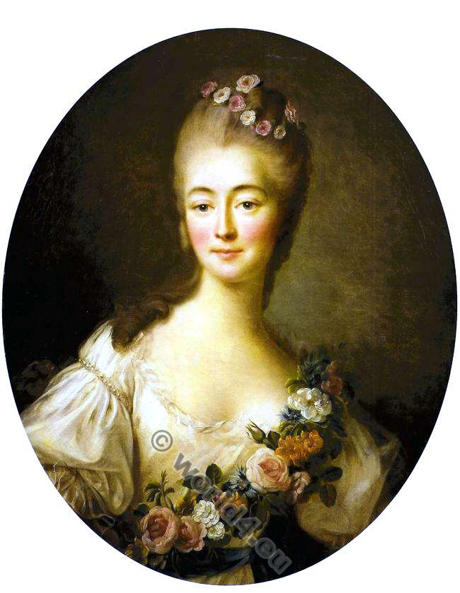Comtesse Du Barry en Flore. François Hubert Drouais. Mistress. King Louis XIV. Rococo fashion.
